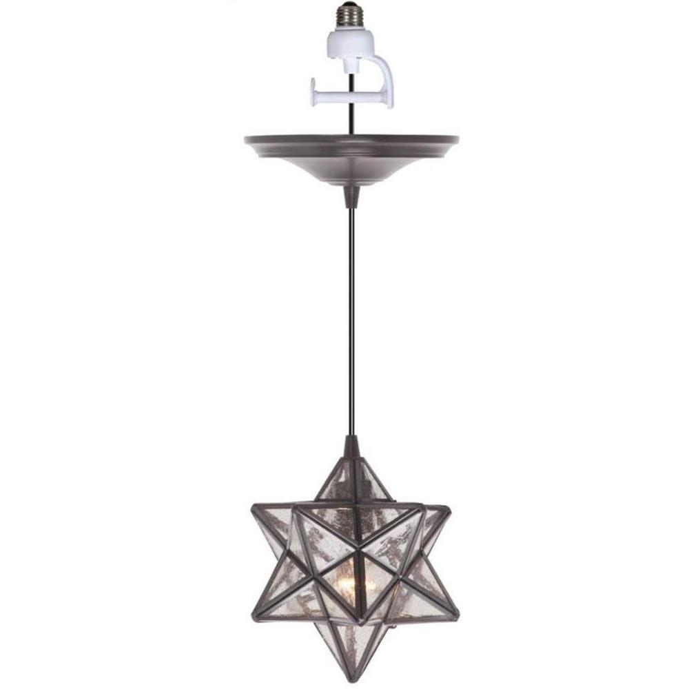 Worth Home Products Instant Pendant 1 Light Recessed Light Conversion Kit Brushed Bronze Moravian Star Shade Pkn 4724 The Home Depot Recessed Light Conversion Kit Pendant Light Kit Star Pendant Lighting Recessed light conversion kit pendant