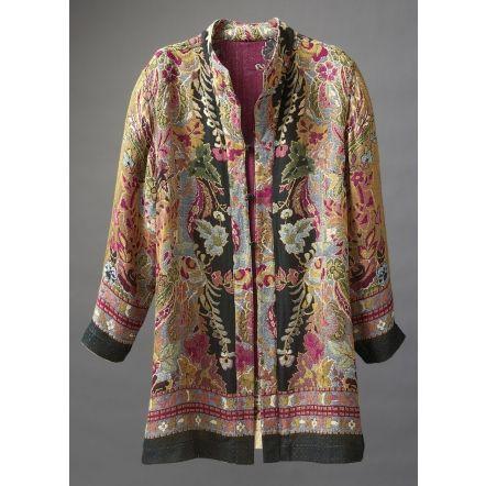 Reversible Jamevar Jacket in berry floral