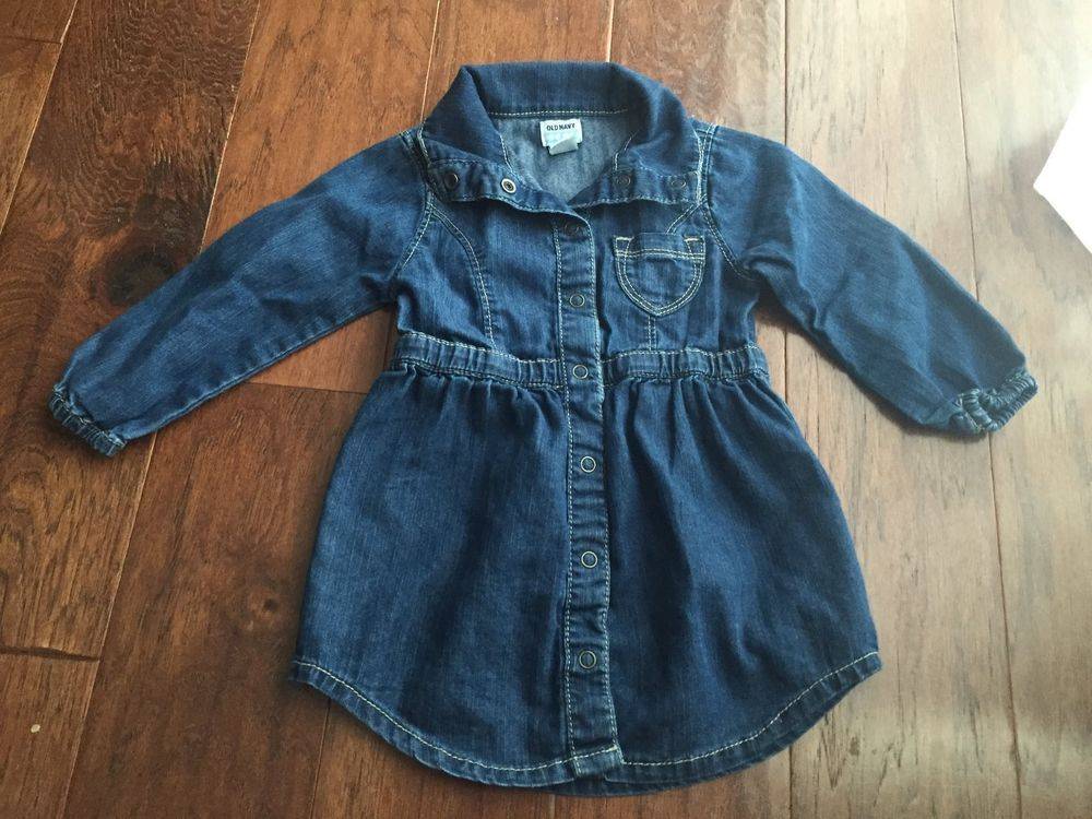 7775abade 18-24 months Old Navy baby girl toddler blue jean dress tunic long ...