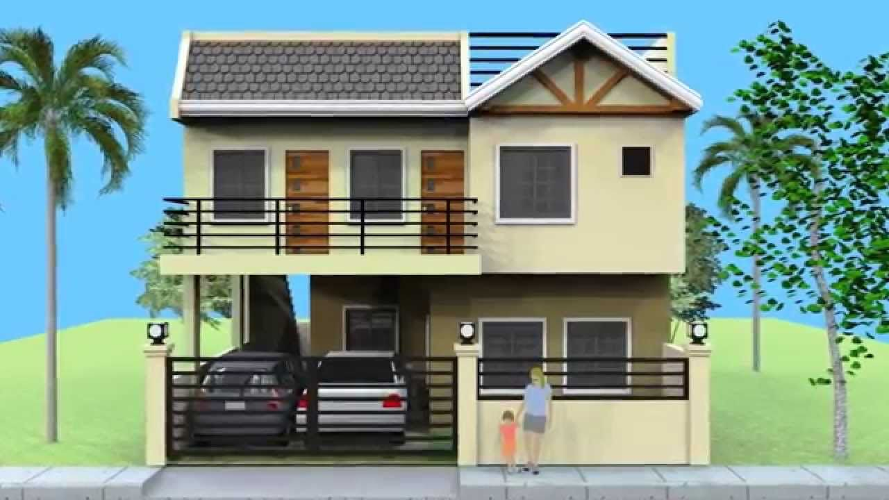 A Small 2 Storey House With Roofdeck For Lot 9m X 12m