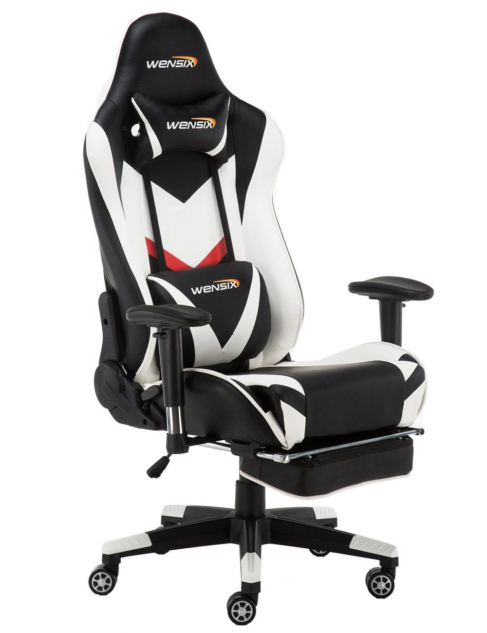 Wensix Gaming Chair High Back Computer Chair With Adjusting Footrest Ergonomic Designs Extremely Durable Pu Leather Steel Frame Racing Chair White Price