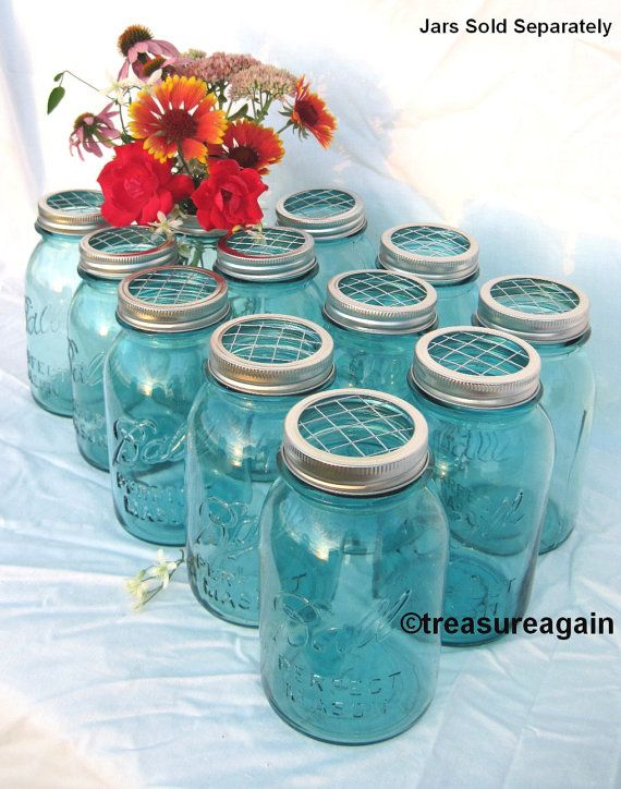 DIY Wedding Flowers Mason Jars Centerpieces 40 Upcycled FLOWER FROG Stunning Ball Jar Decorations