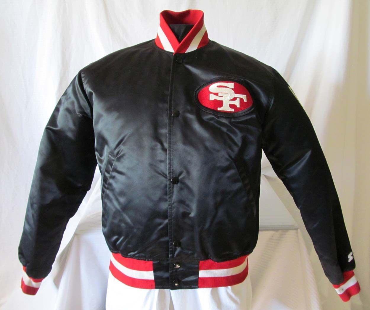 Vintage 80s BLACK SF 49ers STARTER JACKET San Francisco Proline Satin Sz. M. 34893e345