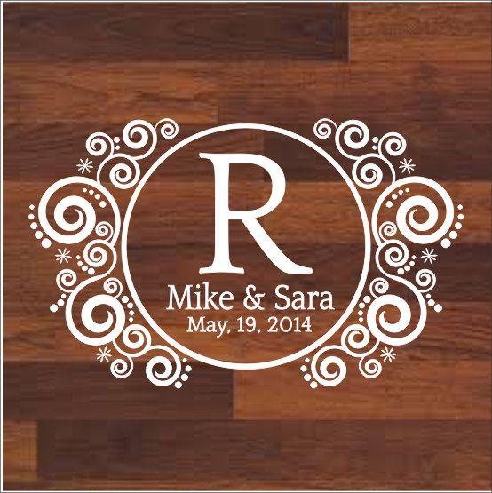 Wedding Floor Decal Wedding Day Dance Floor Decal Fancy Monogram Personalized Name and Date Wedding Decor