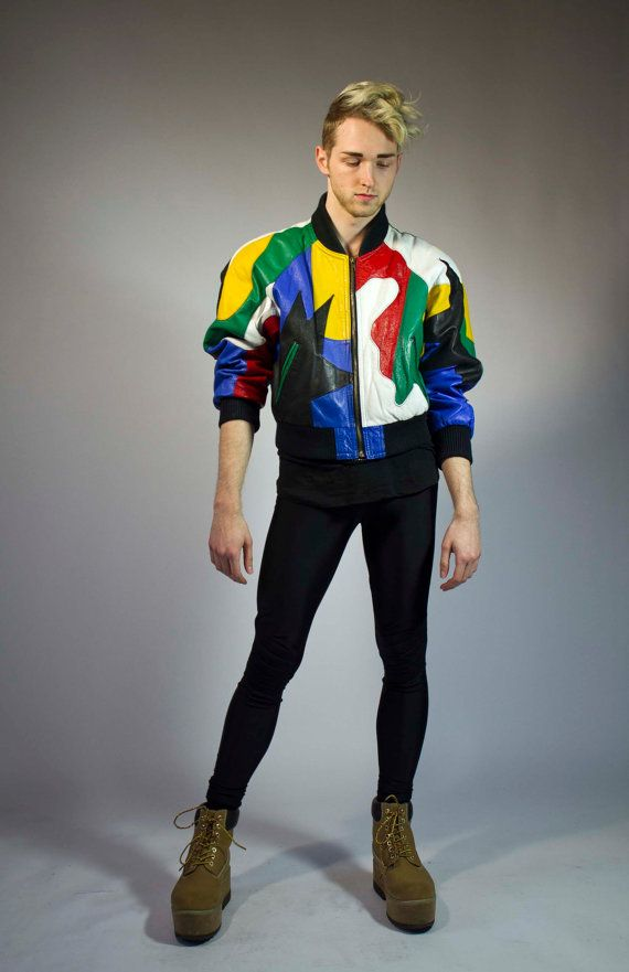 80s colorful abstract print leather bomber jacket mens M | Men's ...
