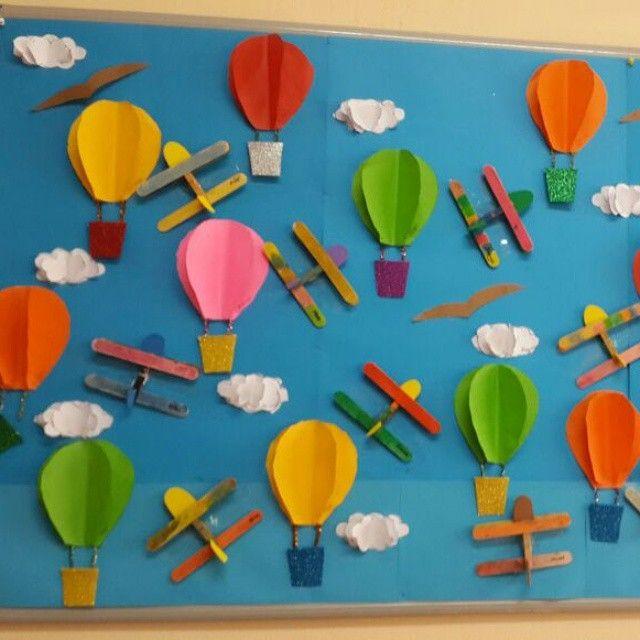 Classroom Craft Ideas : Hot air balloon bulletin board first flight bessie