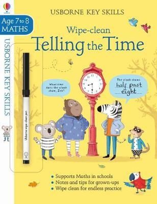 This comprehensive book provides an enjoyable way forchildren to learn how to tell the time. Join a group of friendly animalcharacters and learn to tell the time to the nearest 5 minutes, recognize a.mand p.m times, and record minutes past the hour. The durable, wipe-clean pagesmean children can practise again and again.WARNING! Not suitable for children under 36 months because ofsmall parts. Choking hazard. Ink from pen may not be washabe.