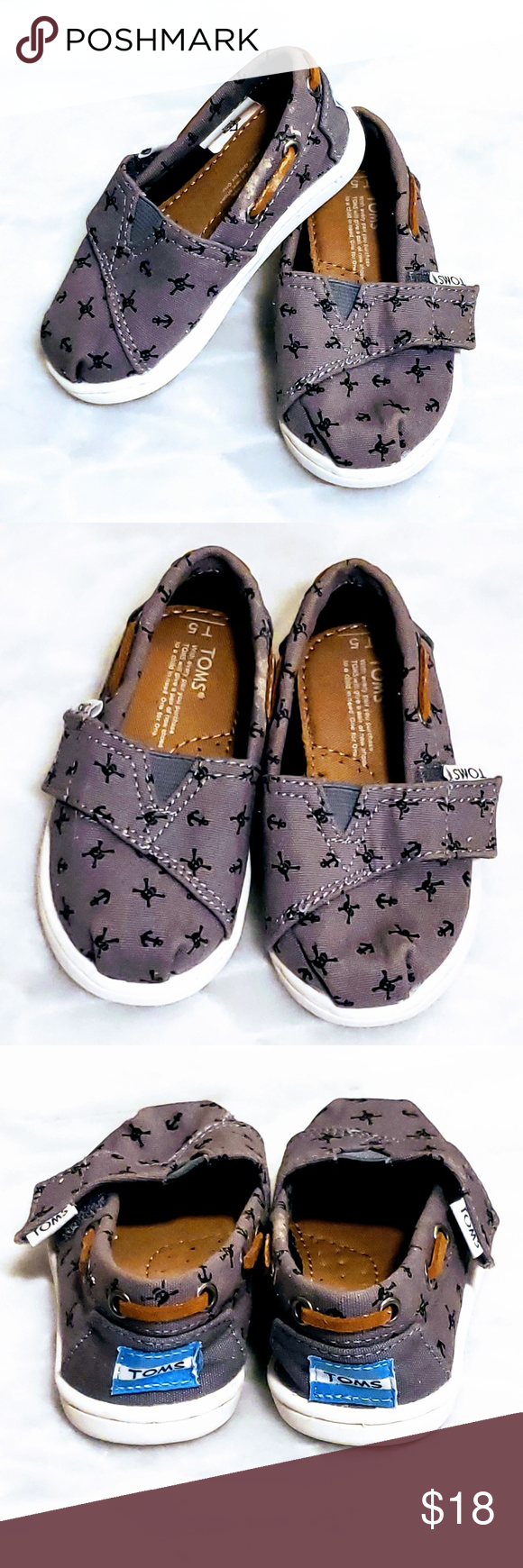 530b330302c 🆕TOMS Tiny Toms size T5 crossbones shoes⚓ TOMS scull and crossbones anchor