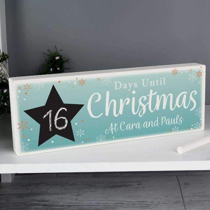Personalised Days Until Christmas Countdown Wooden Block Sign with