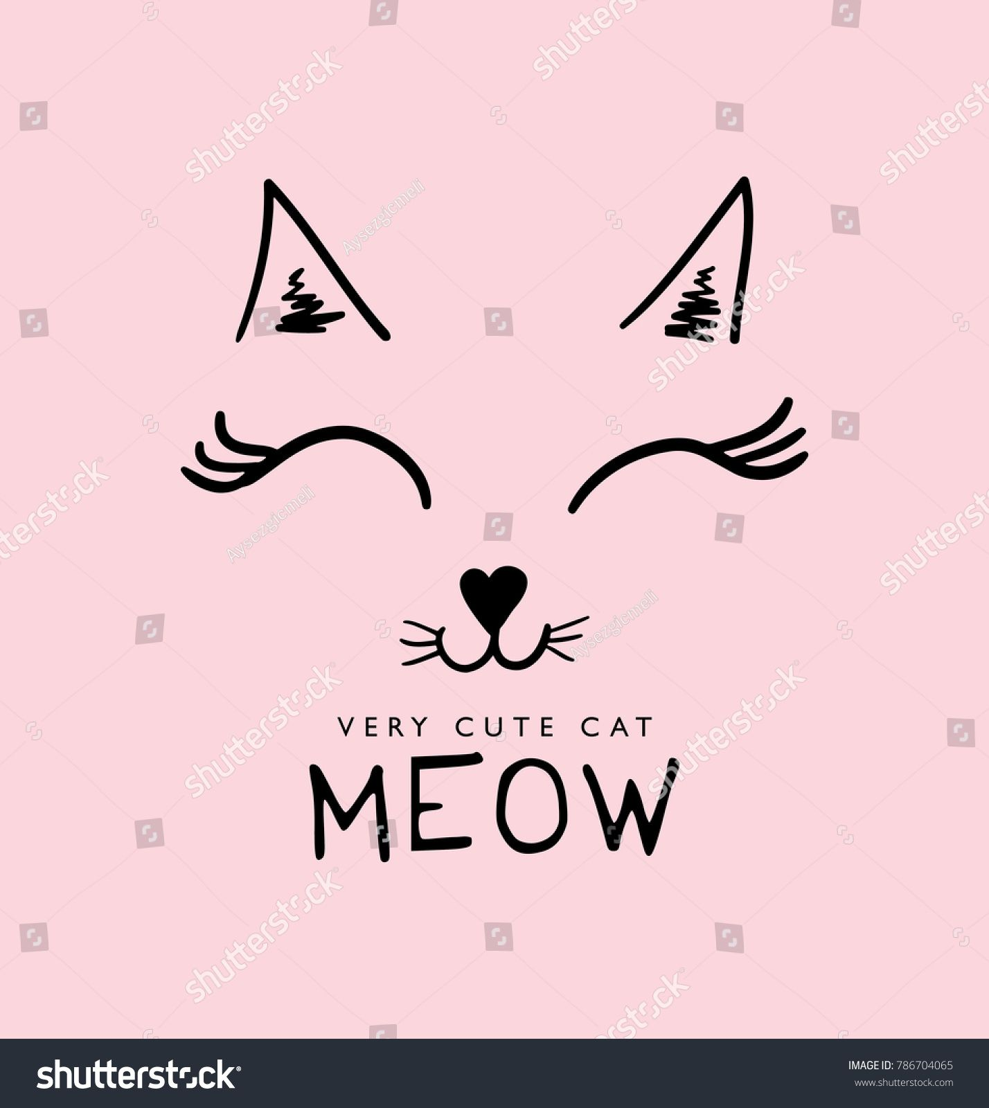 b4c352c6154 Cute cat face drawing and meow sign / Vector illustration design / Textile  graphic t shirt print