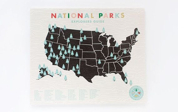 National Parks Checklist Map Print  Mounted canvas by ElloThere