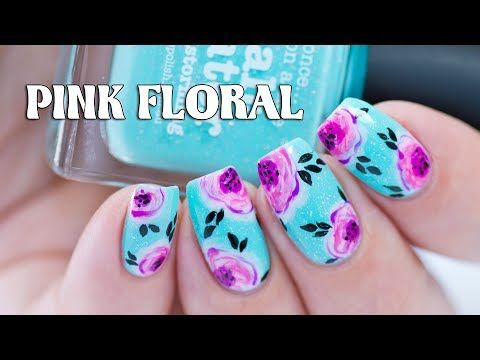 Pink Floral Nail Art With Picture Polish Salt Water Youtube