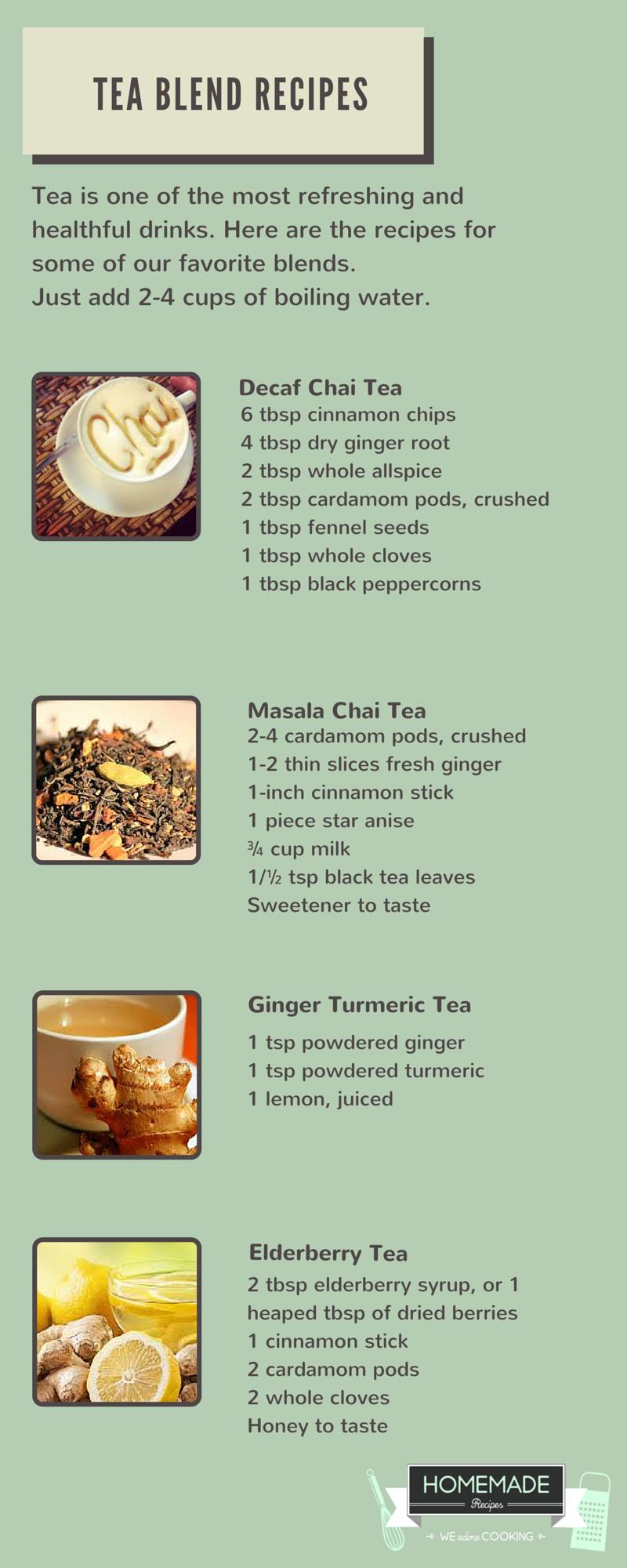 Chi Tea, Elderberry Tea and Ginger Turmeric Tea Blend Recipes by