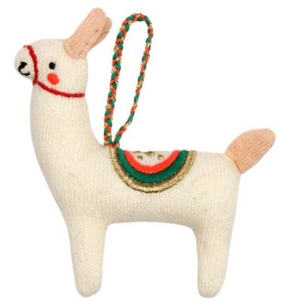 llama knitted christmas decoration 18 liked on polyvore featuring home home decor