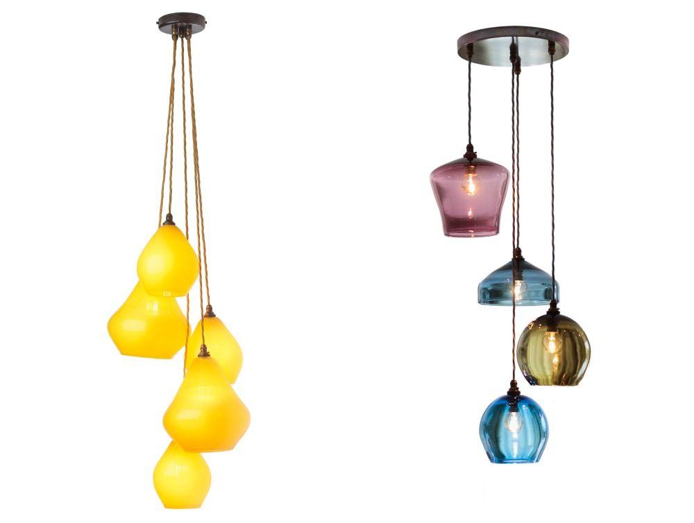 hand blown glass lighting pendants. acid drops pendant left and glass pendants right by curiousa u0026 hand blown lighting