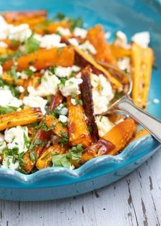 Carrot sticks with feta and parsley - carrots from the oven - -