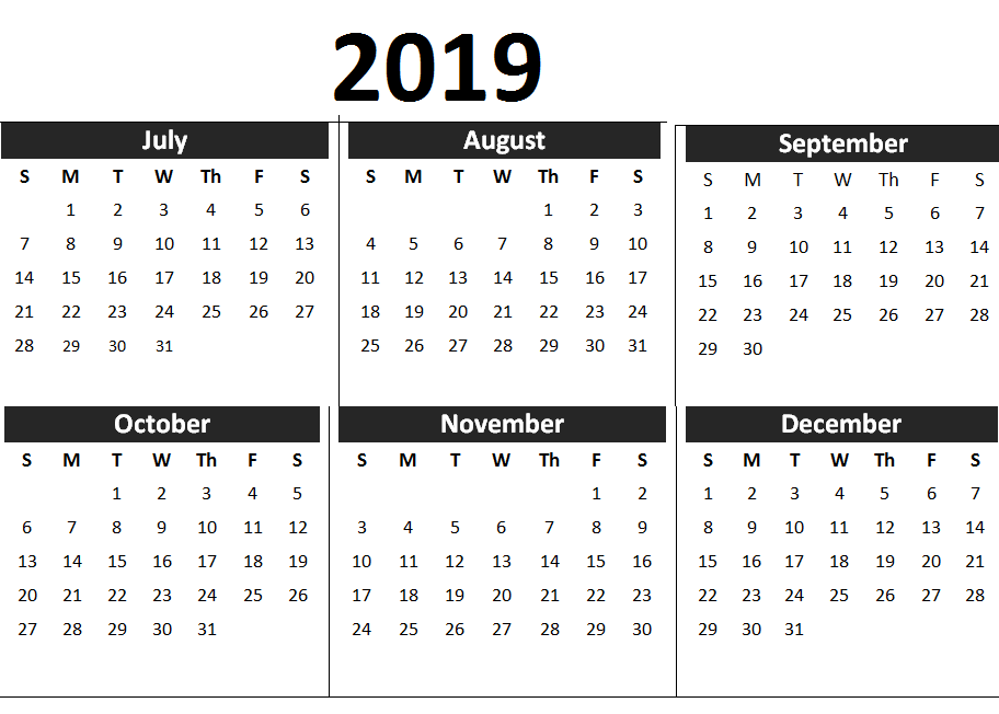 2019 2nd half year calendar printable calendars january to december calendar wallpaper 2019