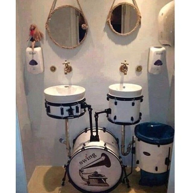 A Bathroom With Drum Kit Sinks From Bathroomcollective