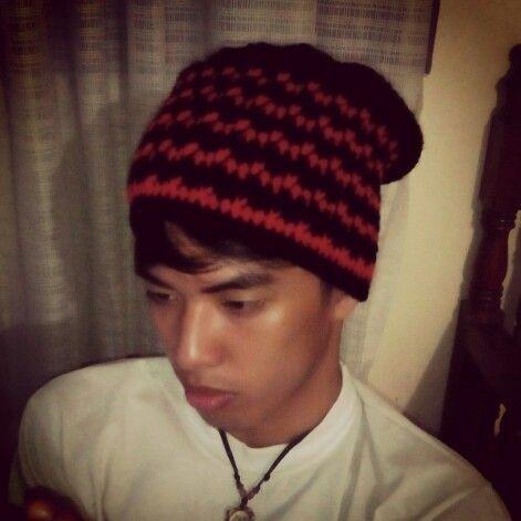 My son sporting my work...Crochet Slouch Beanie...