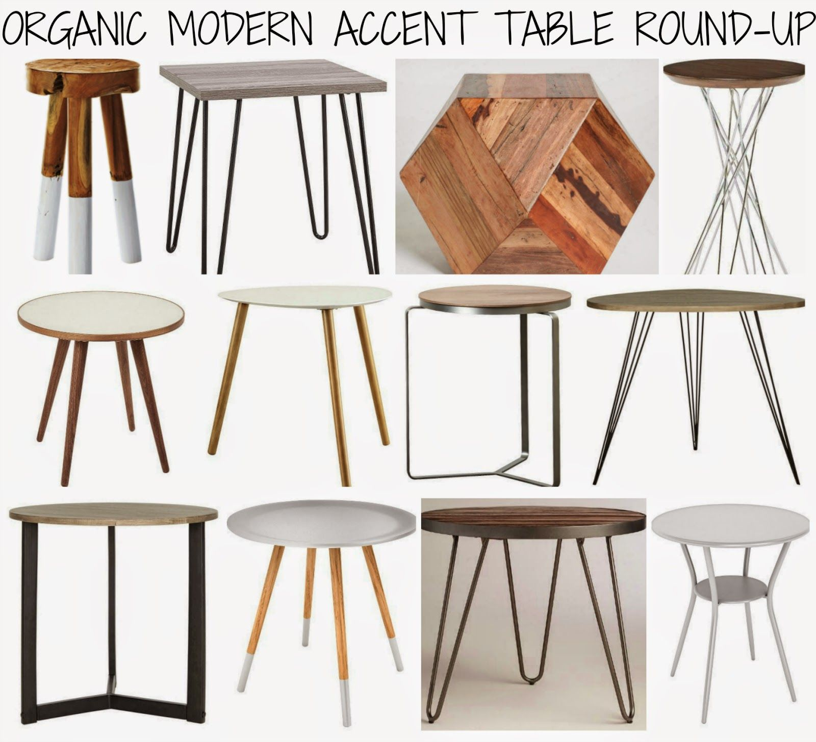 affordable accent table round-up: mid century meets organic modern