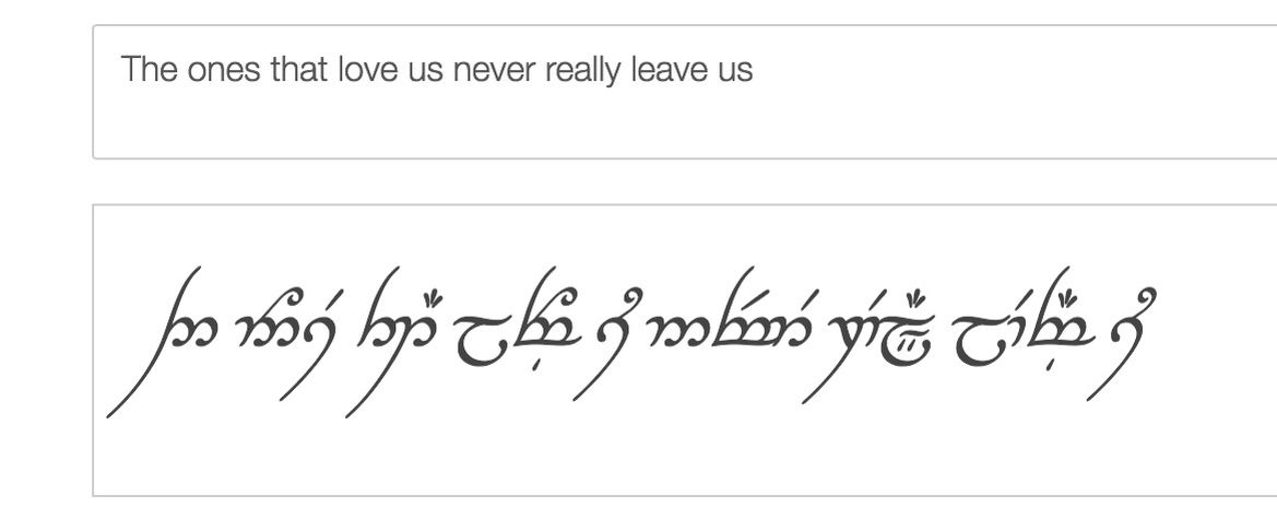 My favourite Harry Potter quote in lord of the ring elvish writing