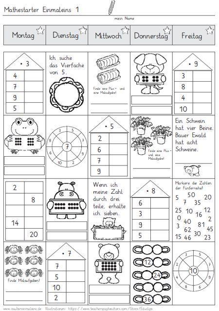 Mathestarter 1x1 - Woche 1 und 2 (Zaubereinmaleins - DesignBlog) in ...