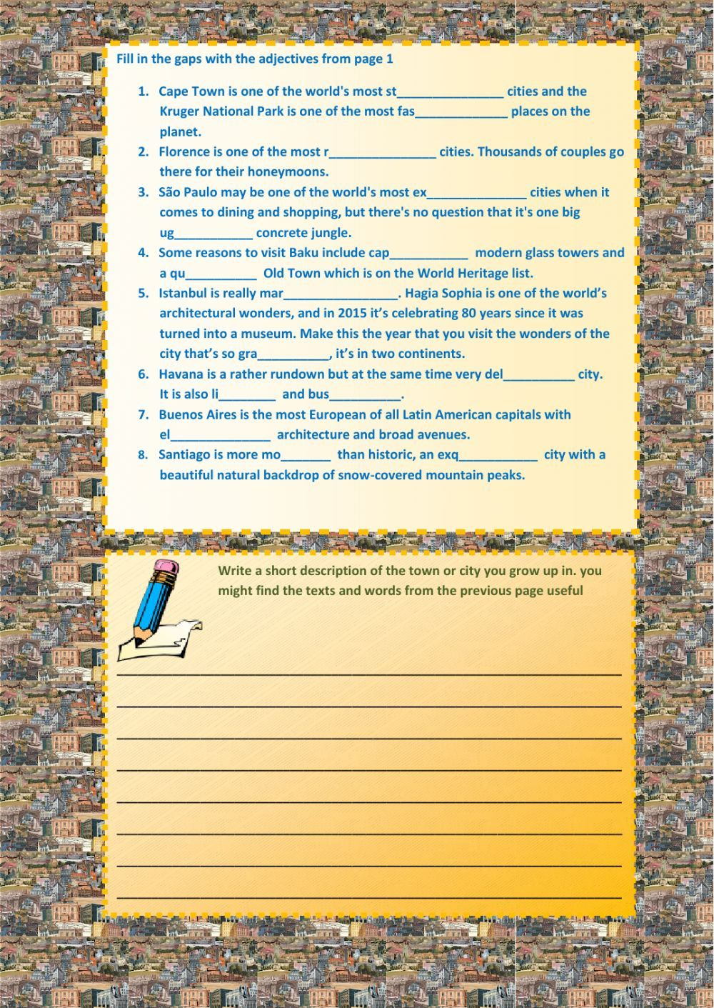Describing Places Interactive And Downloadable Worksheet You Can Do The Exercises Online Or Downlo Writing Lessons English As A Second Language Esl Language [ 1411 x 1000 Pixel ]