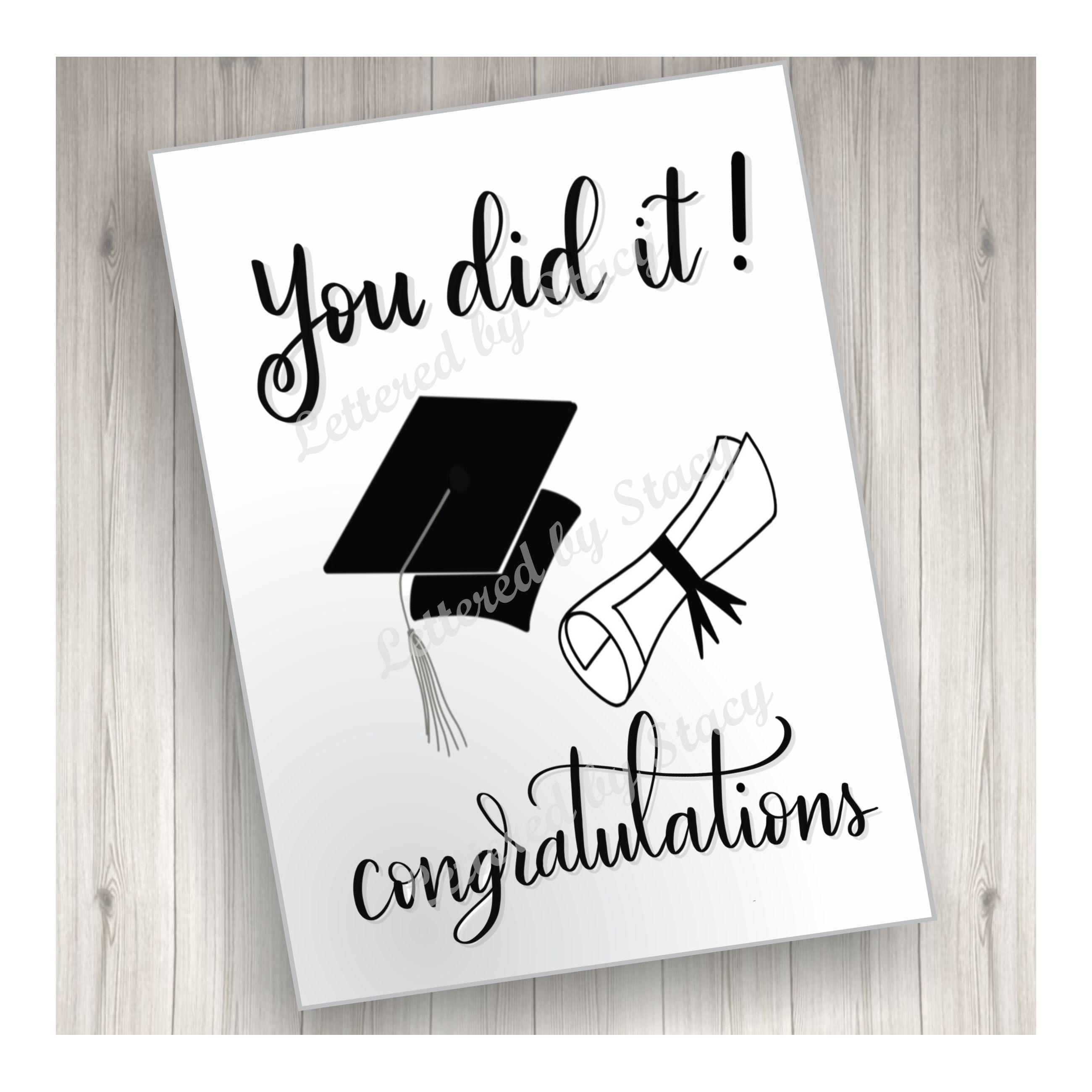 Graduation Card You Did It Congratulations Graduate With Etsy Graduation Cards Handmade Congratulations Graduate Graduation Cards