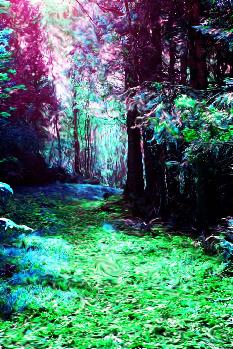 Enter The Forest A Trippy Psychedelic Art Print Of The Forest Created In Photoshop By Lisa Kathryn Studio Trippy Photos Trippy Painting Aesthetic Painting