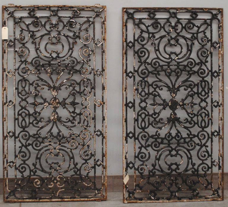 Pair Antique French Wrought Iron Panels For Wall Art And To Bring
