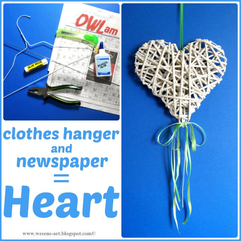 Newspaper Heart wesens-art.blogspot.com   Kleiderbügel recycling ...