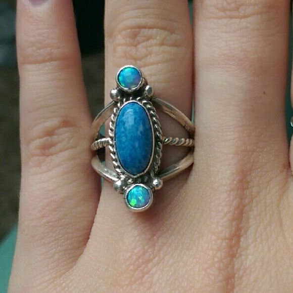 Indian Style Silver Ring Opal & Denim Lapis size 5.75 Vintage Jewelry Rings