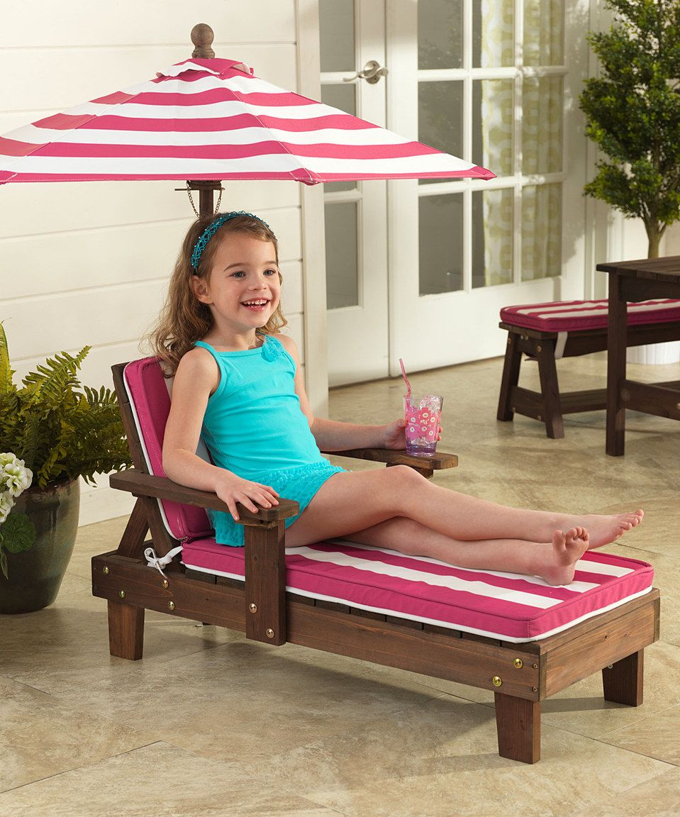 Love This Pink White Stripe Outdoor Chaise Lounger Umbrella Set