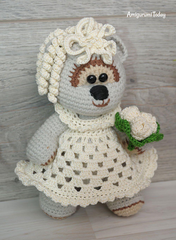 Amigurumi wedding bears: crochet pattern | Crochet bear, Crochet ... | 1358x1000