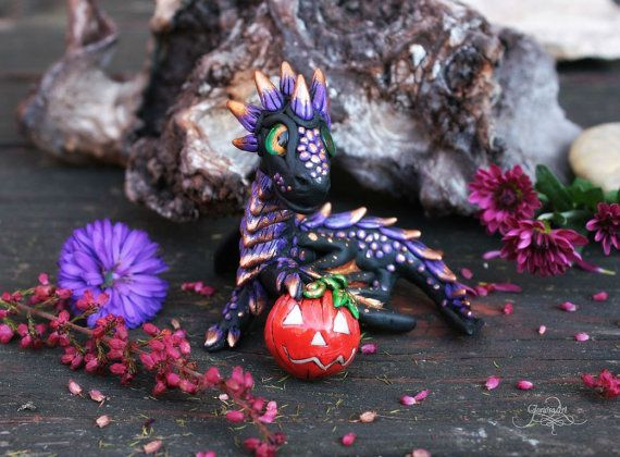 Pumpkin dragon sculpture - Halloween Witch Dragon figurine - black purple dragon figure - polymer clay - fantasy totem - wiccan decor #wiccandecor Pumpkin dragon sculpture - Halloween Witch Dragon figurine - black purple dragon figure - polymer clay - fantasy totem - wiccan decor - fimo art - hadmade - by GloriosaArt #wiccandecor