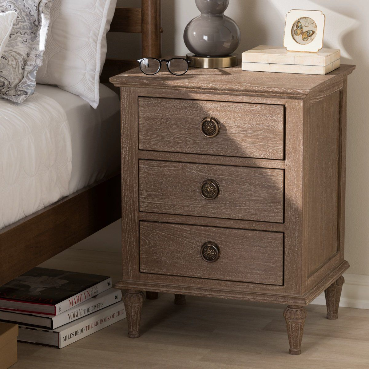 Baxton Studio Venezia Rustic Grey Wash Wood 3 Drawer Nightstand