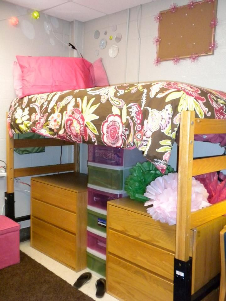 Bed on stilts under bed storage dorm apt ideas bed - Dorm underbed storage ideas ...