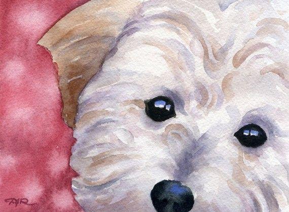 Cockapoo Art Print Sepia Watercolor 11 x 14 by Artist DJR