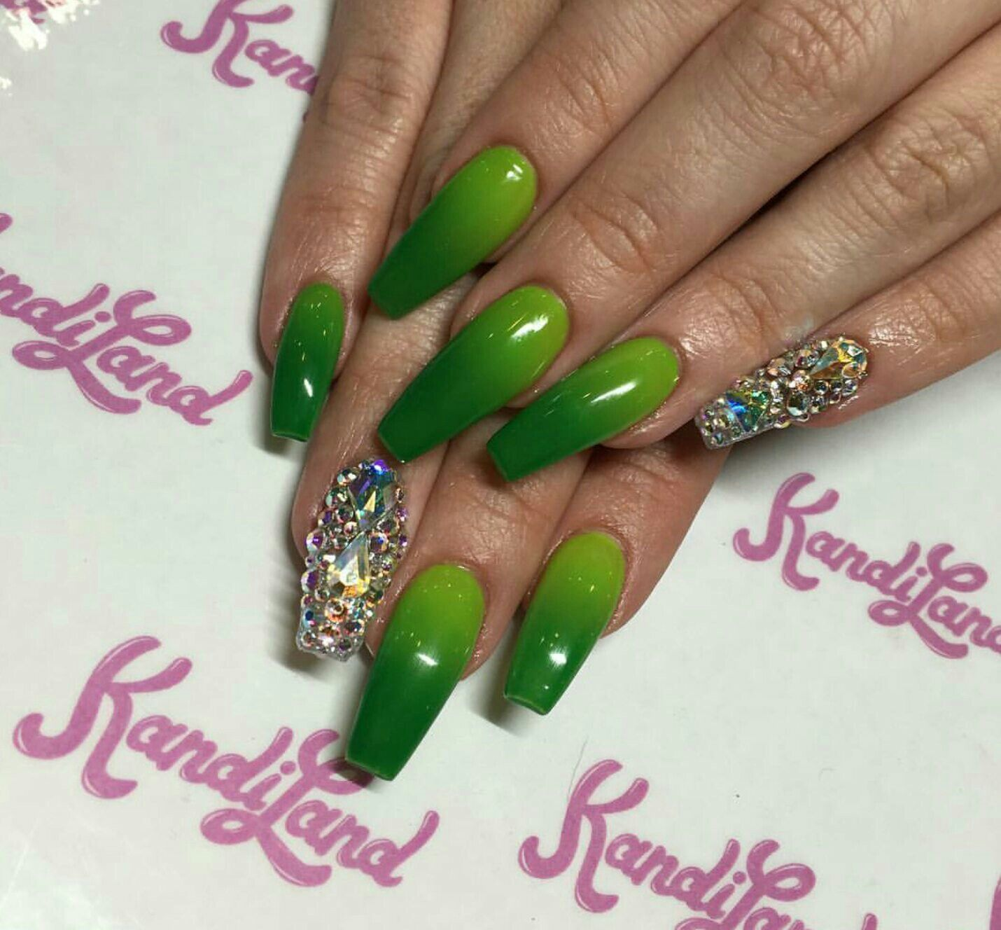 Green ombed coffin nails with jems | Nails | Pinterest | Unas acrilicas