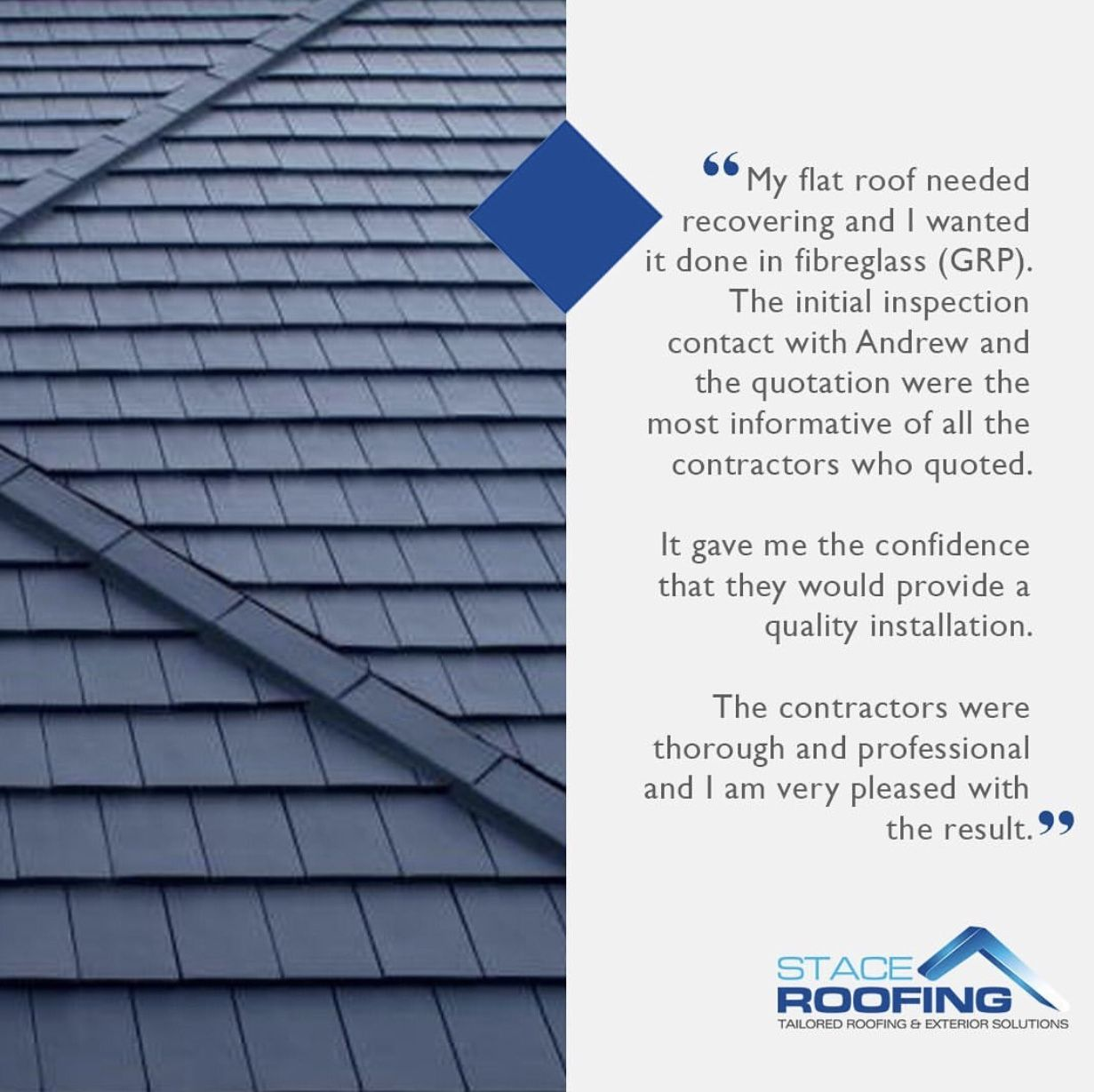 A great review from a customer that wanted their flat roof