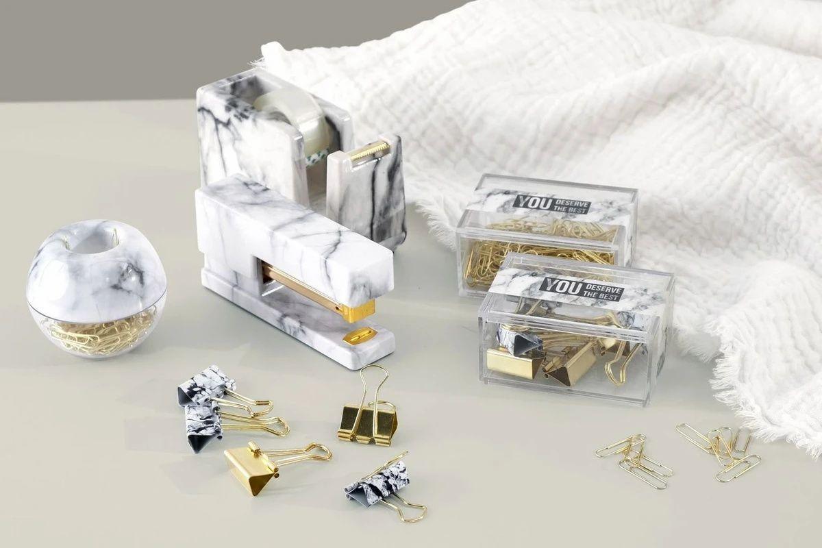 Marble office gift kit with stapler tape dispenser paper