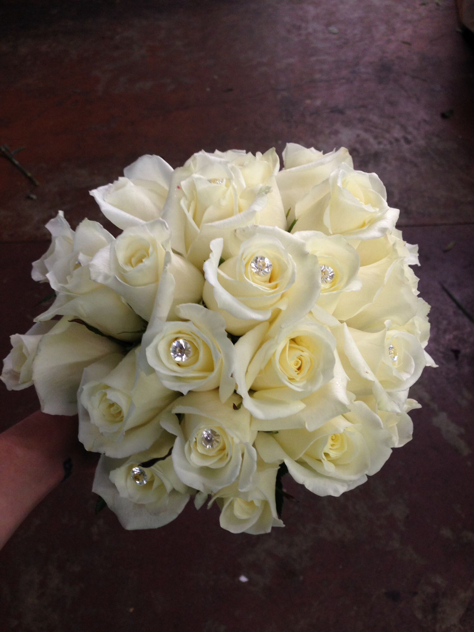 White rose bridal bouquet, classic, diamond accents, bling ...
