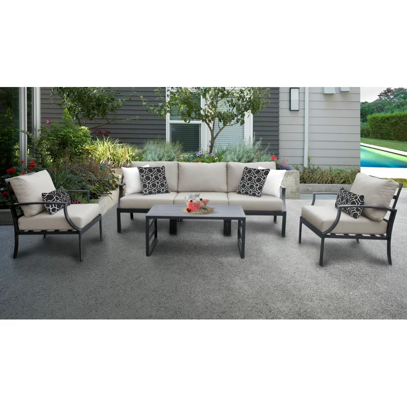 Benner Outdoor 6 Piece Sectional Seating Group With Cushions Aluminum Patio Furniture Patio Furniture Sets Conversation Set Patio