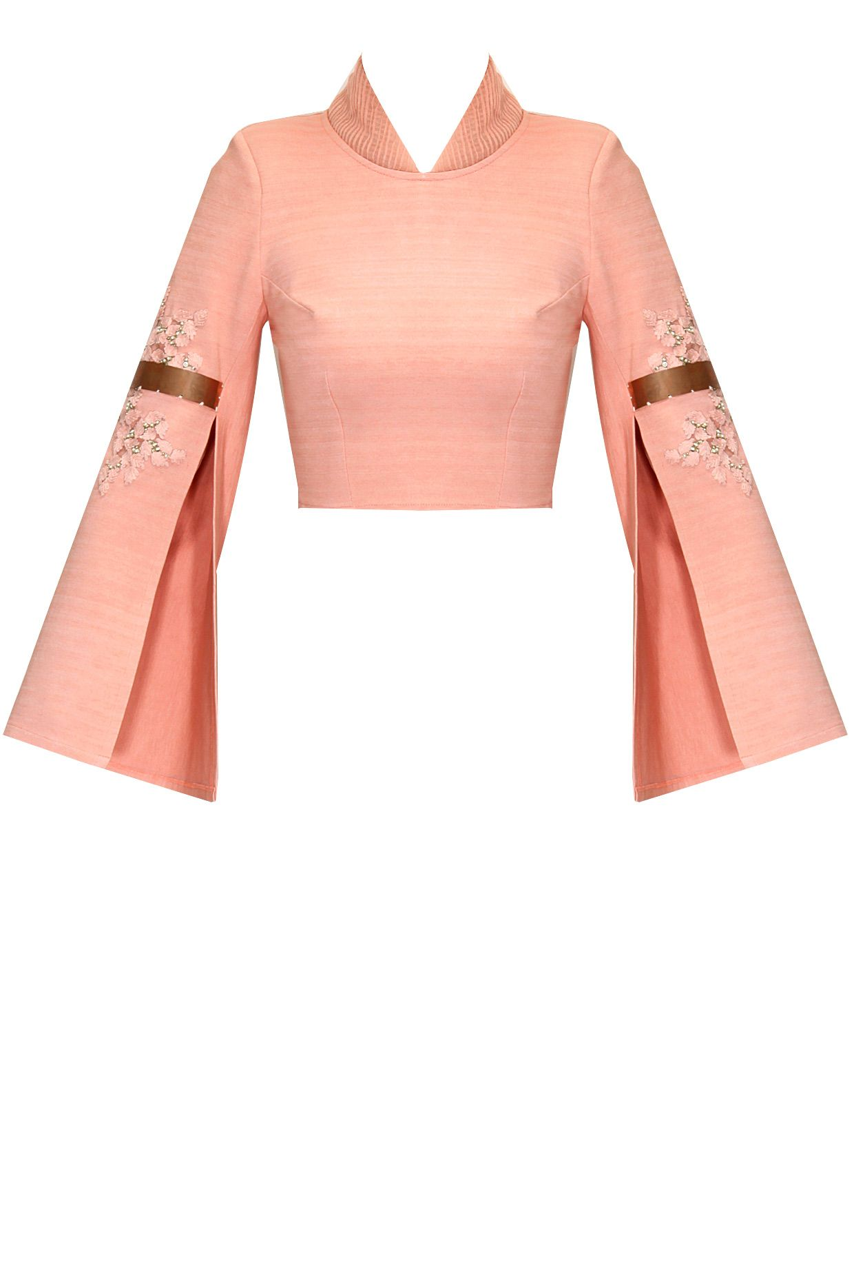 575e0e1891 Pink embroidered double sleeves crop top available only at Pernia's ...