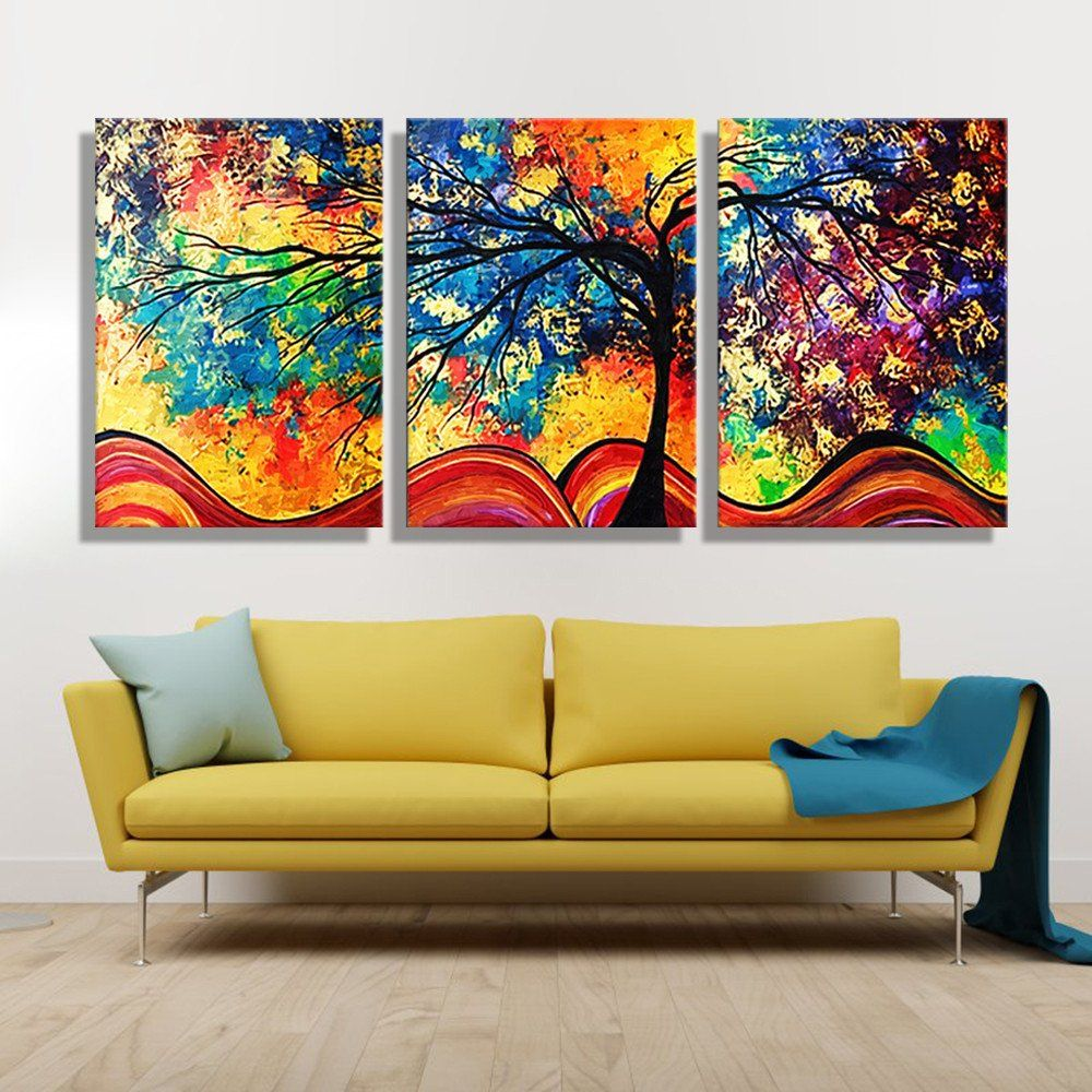 Modern Art Paintings For Living Room Oil Painting Canvas Colorful Tree Wall Art Decoration Painting
