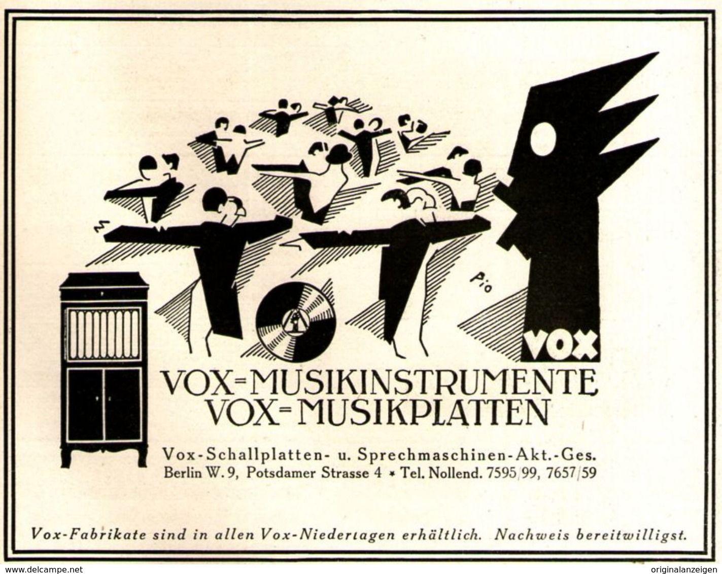 Original-Werbung/ Anzeige 1925 - VOX MUSIKPLATTEN
