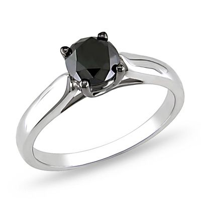 1 CT. Enhanced Black Diamond Engagement Ring in Sterling Silver $228.65