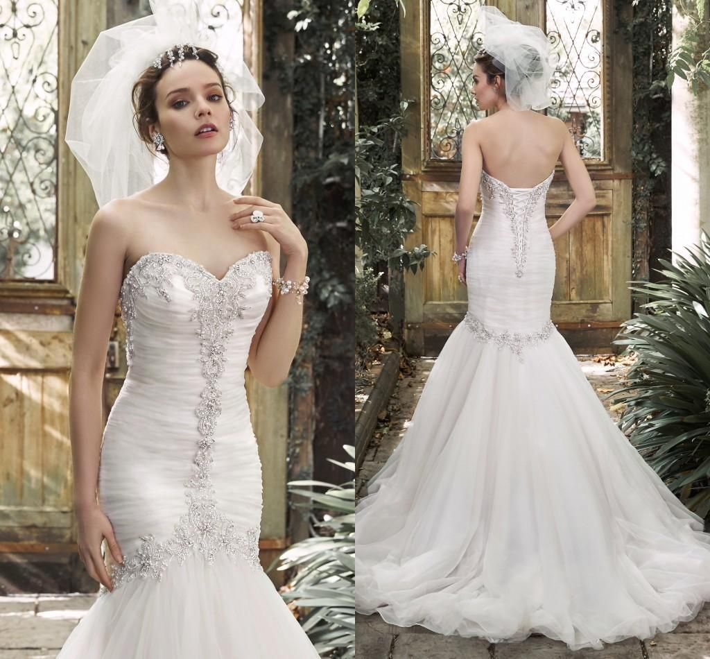Bling 2015 Mermaid Beaded Wedding Dresses Bridal Gowns Sweetheart Sexy Vintage Cheap Backless Ivory Dress Plus