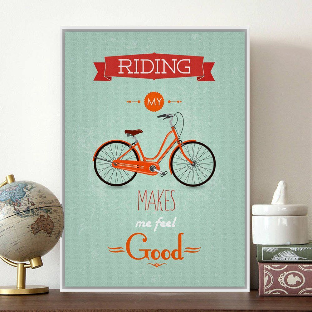 Modern Inspirational Bike Bicycle Quotes Typography Poster Print A4 Vintage  Canvas Painting Bedroom Pop Wall Art