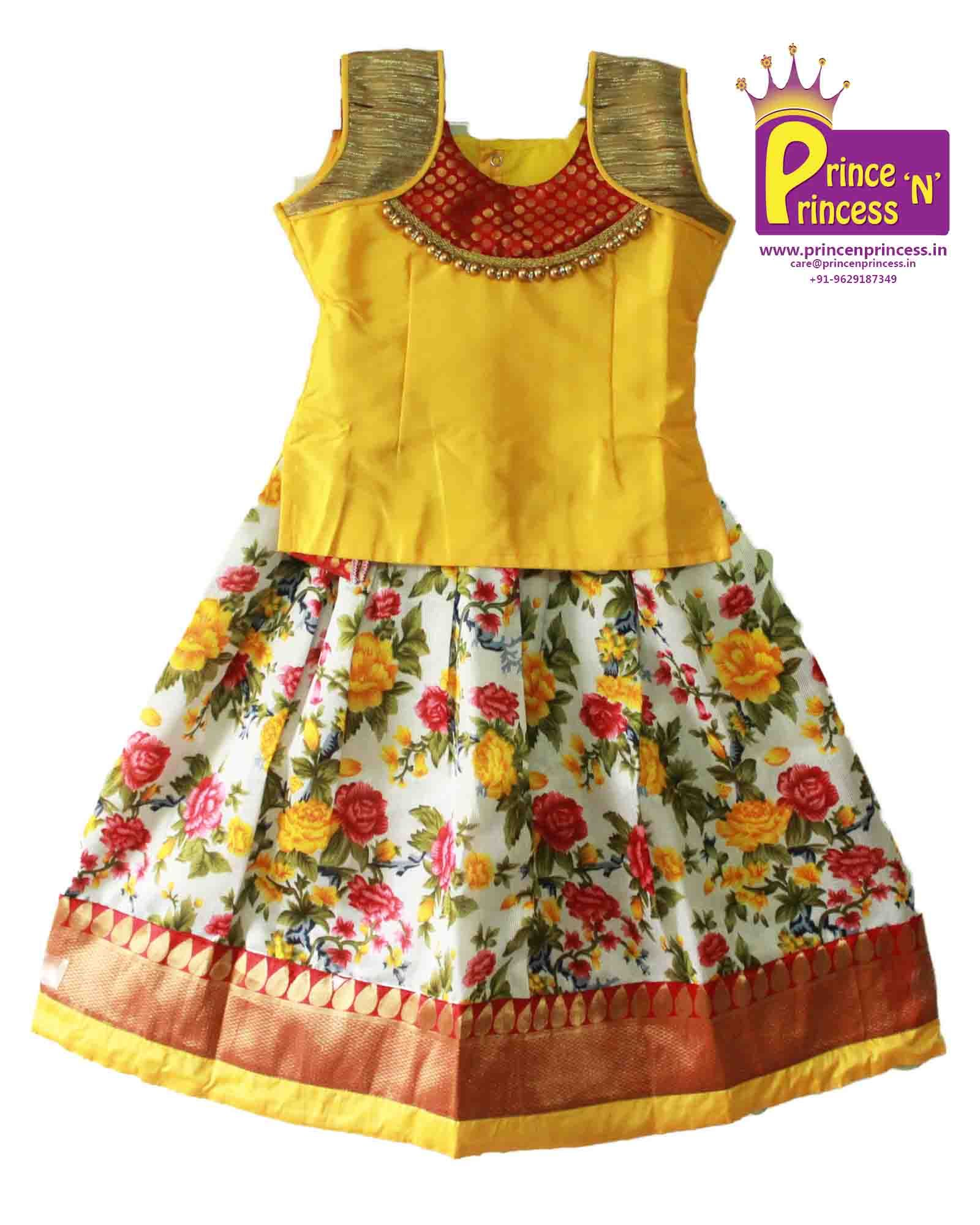 7236c1c50 Kids Yellow Floral Designer Trendy Pavadai . Pattu pavadai . Pattu Langa .  Kids Traditional Ethnic Pattu Pavadai